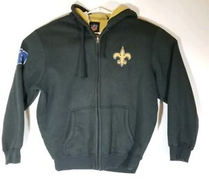 Mens-NFL-New-Orleans-Saints-hoodie-zip-up-sweater-black-size-Large