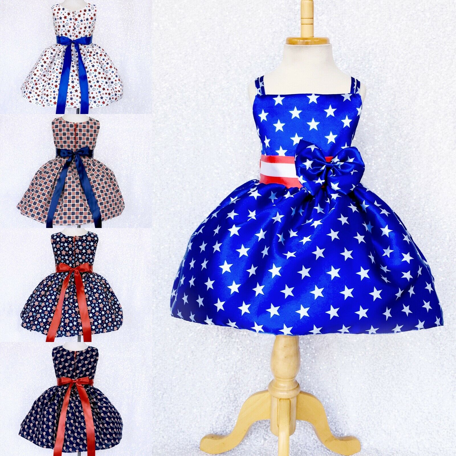 4th of July Patterned Junior Infant Dress Pageant Recital Photoshoot Birthday