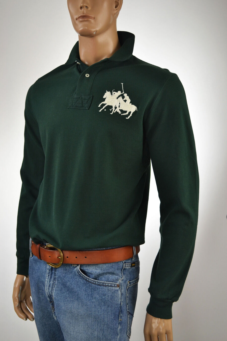 Ralph Lauren Regent Green Mesh Polo Shirt Cream Big Pony Match - NWT