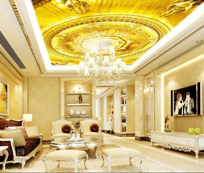 3D Circle Gold 11 Ceiling WallPaper Murals Wall Print Decal Deco AJ WALLPAPER GB