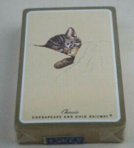 Vtg-CHESSIE-CHESAPEAKE-amp-OHIO-RAILWAY-Playing-Cards-Sealed-1940-1965-Tax-Stamp
