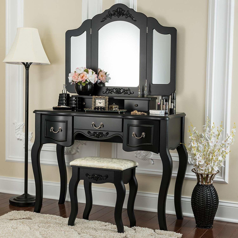 Tri-Folding Mirror Vanity Set 5 Drawers Dressing Table Makeu