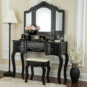 Vanity Beauty Station Makeup Table Wooden Stool Set Mirror