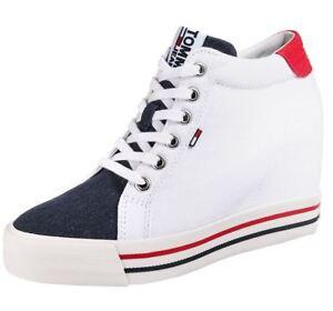 b858b436b93f6 Details zu TOMMY JEANS Tommy Hilfiger Damen Schuhe Wedges High Gr 41 weiss  blau rot Canvas