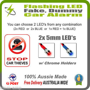 2x-5mm-Flashing-LED-Dummy-Fake-Car-Alarm-w-Chrome-Holder-Surround