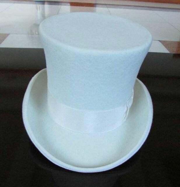 """Vintage Wool Black Victorian Mad Hatter Top Hat Vivi Performing Cap  5/"""" Crown"""
