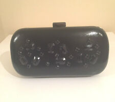 NEW Black Embellished Diamante Hard Case Evening Party Wedding Box Clutch Bag