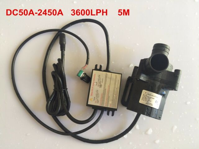 Speed adjustable 5-24V 50A-2450A Small DC Water Pump Submersible pump 3600L/H 5M