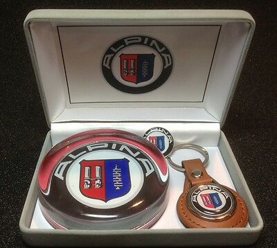 Alpina / B.M.W. Gift Set; Glass Paperweight, Leather Key Ring & Badge