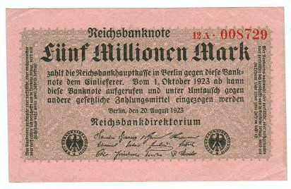 GERMANY REICHSBANKNOTE 5 MILLION MARK 1923//sold as each