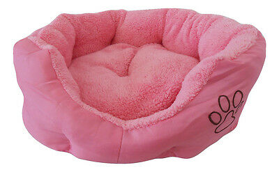 LUXURY DOG CAT PUPPY BED PINK SMALL SOFT WARM COMFY REMOVABLE CUSHION