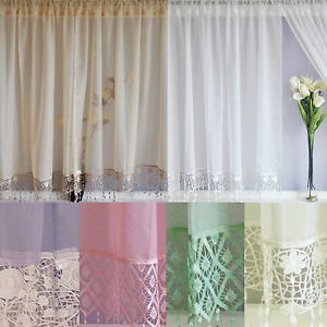 Image Is Loading Voile Net Curtains Panels With Macrame Lace 48