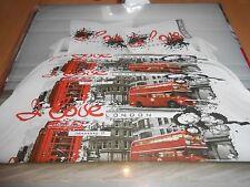 """parure de lit housse de couette + taies 2 personnes """"I love london"""" - neuve"""
