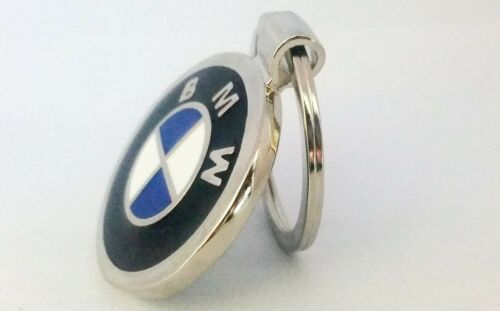 BMW Beemer Logo Double Sided Car Keyring Key Chain with Red Velvet Gift Pouch
