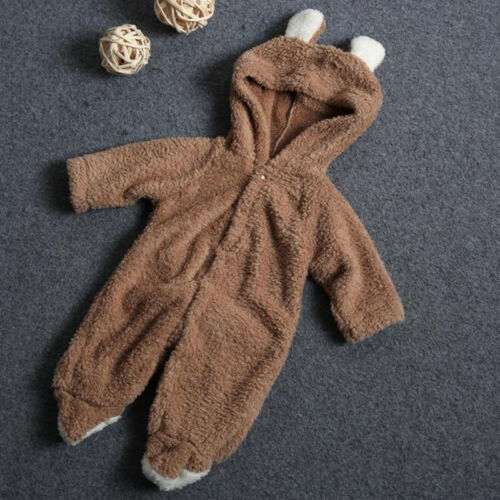 Newborn Baby Boy Girl Hooded Romper Fleece Bear Jumpsuits Bodysuit Clothes 0-12M