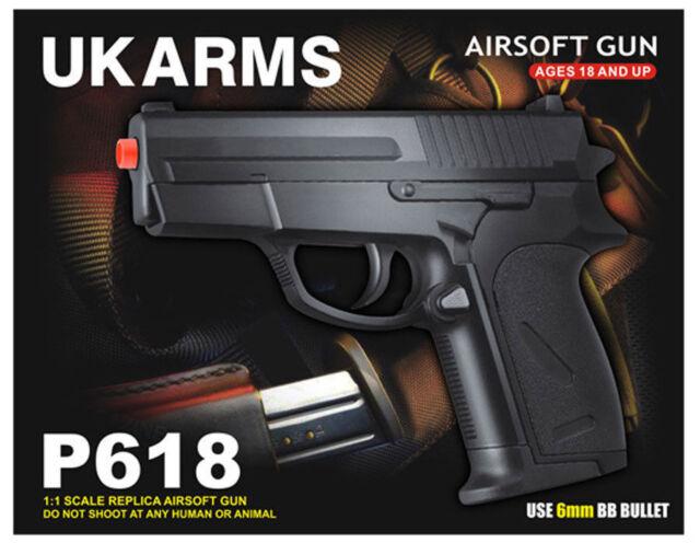 Uk Arms 5 5 Black Compact Plastic Airsoft Pistol Handgun Gun W Bb Air Soft P618 For Sale Online Ebay