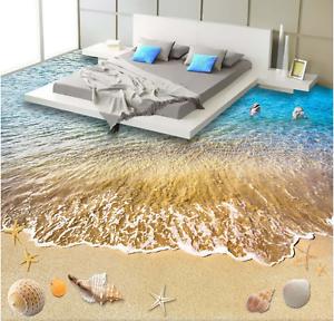 3D Marea Playa Shell Piso impresión de parojo de papel pintado mural 7 5D AJ Wallpaper Reino Unido Limón