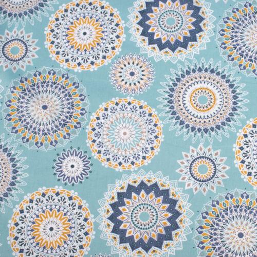De toalla mandala flores azul claro blanco azul senfgelb 1,5m ancho