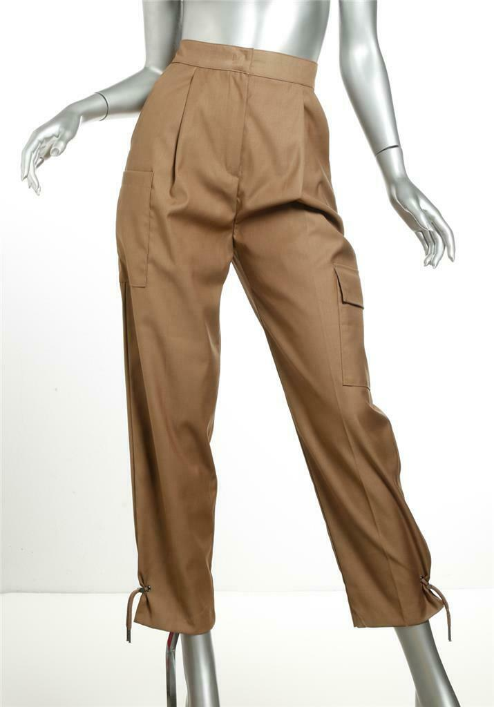 STAGE damen Khaki braun Drawstring High Rise Pockets Cinched Suit Pants S NEW
