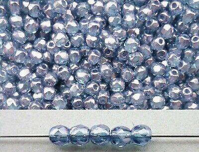 50x feuerpolierte Glasschliffperlen 3mm Grau metallic Hämatit # 14400 silber