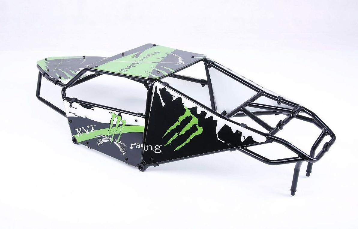 Alloy Roll cage kit with Plastic verde image windows for 1 5 Hpi Baja 5T 5SC