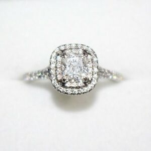 Details About Tiffany Co Platinum Cushion Cut Diamond Soleste Engagement Ring 73ct E Vvs1