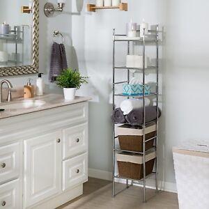 6 Tier Metal Bathroom Storage Tower Shelf Tall Sleek Spacesaver Chrome Organizer Ebay