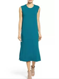 Eileen Fisher NWT  Jewel Round Neck Calf Length Dress Viscose Jersey Small S