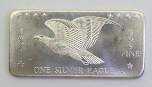 SCARCE-VINTAGE-1971-W-H-FOSTER-SILVER-EAGLE-1-oz-SILVER-ART-BAR-FC-3