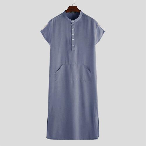 Men Muslim Clothing Short Sleeve Saudi Arab Thobe Islamic Jubba Thobe Kaftan Top