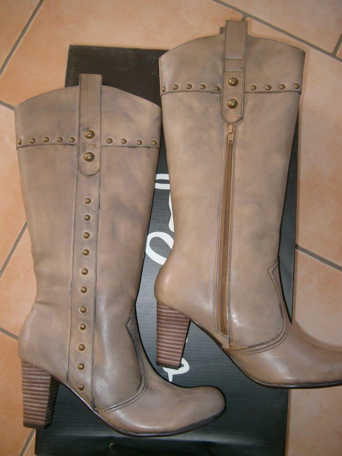 (z36) PEPE JEANS Chaussures Femmes Bottes en cuir dans le style western avec rivets gr.38