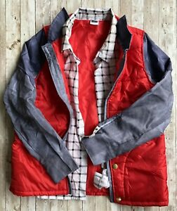 Adult Back To The Future Marty McFly Halloween Costume 1980s Red Puffer Vest
