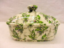 Lilly of the Valley chintz butterdish by Heron Cross Pottery