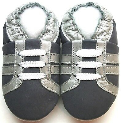 minishoezoo soft sole leather baby shoes cow grey 4-5 y Toddler free shipping