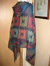 Hooded WRAP PONCHO Festival Aztec Navaho South American Mexican Blanket Cape Blu