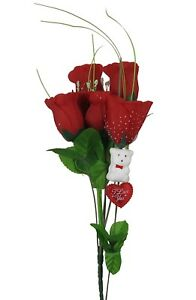 Silk Red Roses Bouquet I Love You Heart White Teddy Bear Valentine S 12 L New Ebay