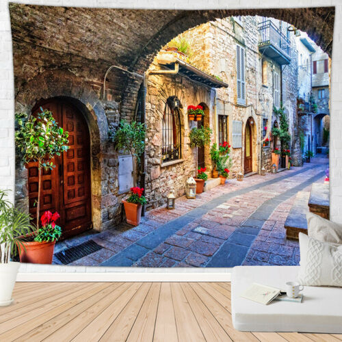 Art Peaceful Village Street Tapestry Scenery Wall Hanging Psychedlic Tapestries