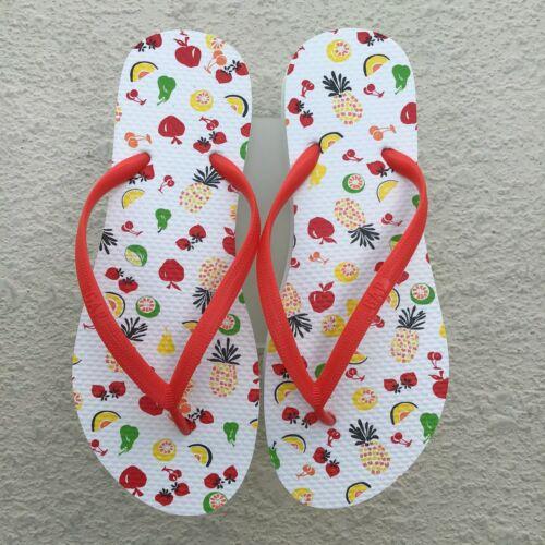 Details about  /Gap Flip Flops Womens SZ 8 White Red Summer Fruit Bowl Island Beach Unisex NEW