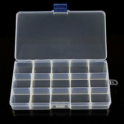 Plastic 15/10/24 Slots Adjustable Jewelry Storage Box Case Craft Organizer Bead