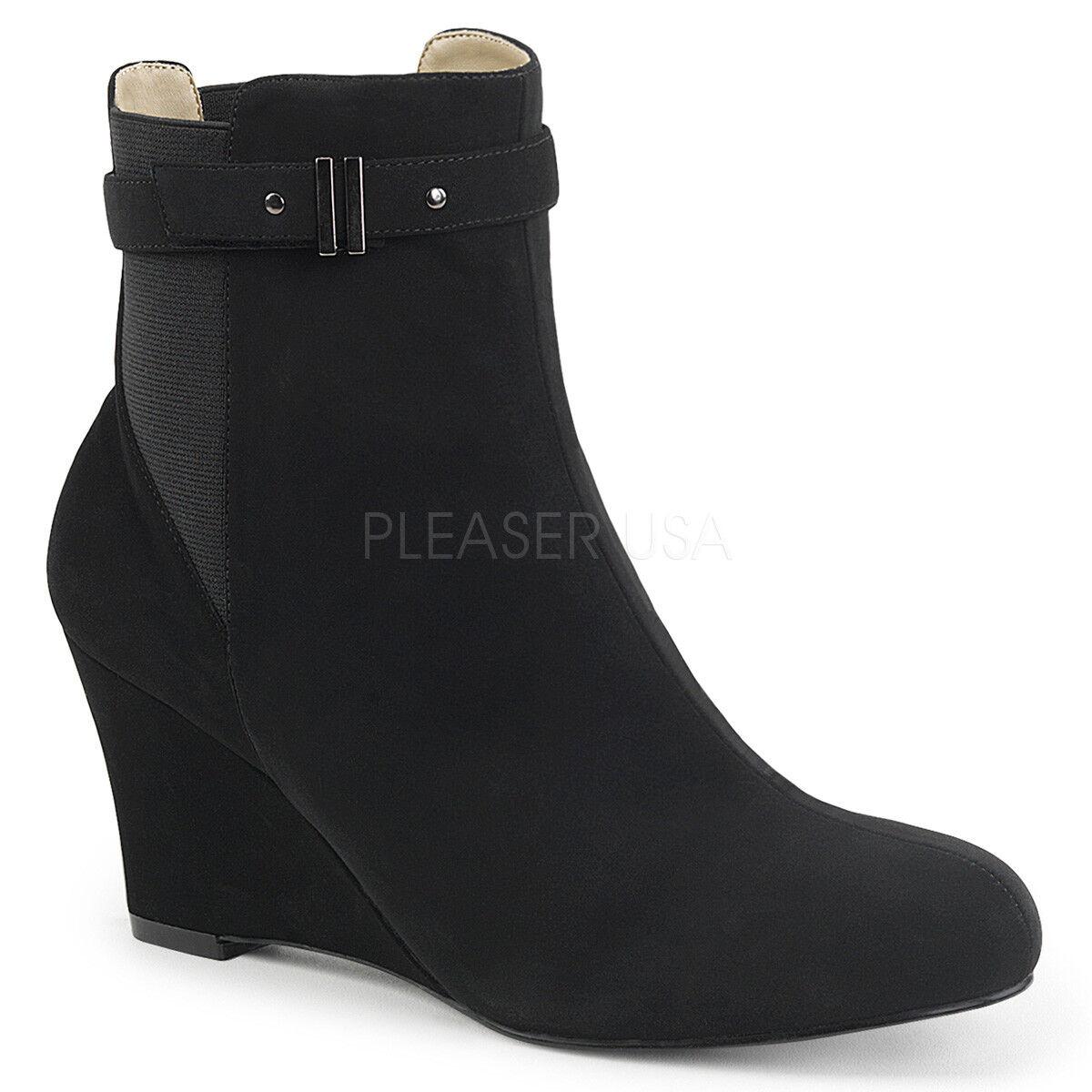 Suede Ankle Stiefel Wedges Mens Crossdresser Large Größe Womans Schuhes Größe 11 12 13