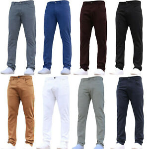 Mens-Designer-Chinos-Stretch-Slim-Fit-Trousers-Work-Jeans-Pants-All-Waist-Sizes