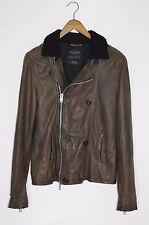 *AWESOME SAUCE* AllSaints Mens DIVERSE Leather Pea Coat / Jacket MEDIUM Waterman