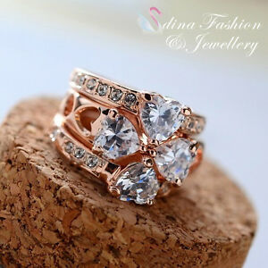 18K-Rose-Gold-Plated-Simulated-Diamond-4-Hearts-Four-Clover-Ring-Set-Jewellery