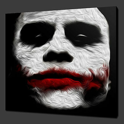 "JOKER HEATH LEDGER MOVIE WALL ART PICTURE BOX CANVAS PRINT 12""x12"" FREE UK P&P"