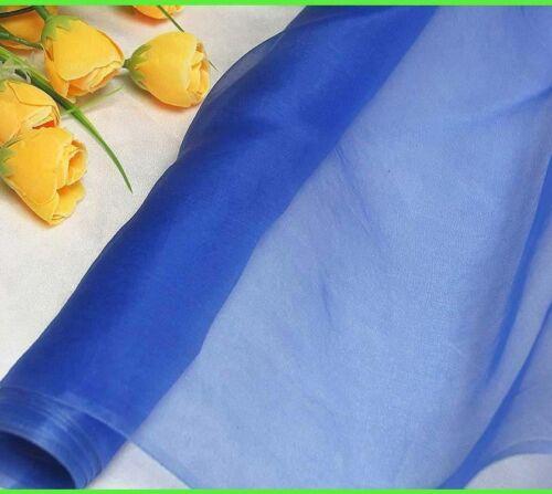 100 pure silk organza fabric royal blue yardage tutu gauz tulle material