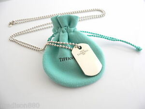 3a67f532f Tiffany & Co Silver Coin Edge Dog Tag Necklace Pendant 34 Inch Bead ...