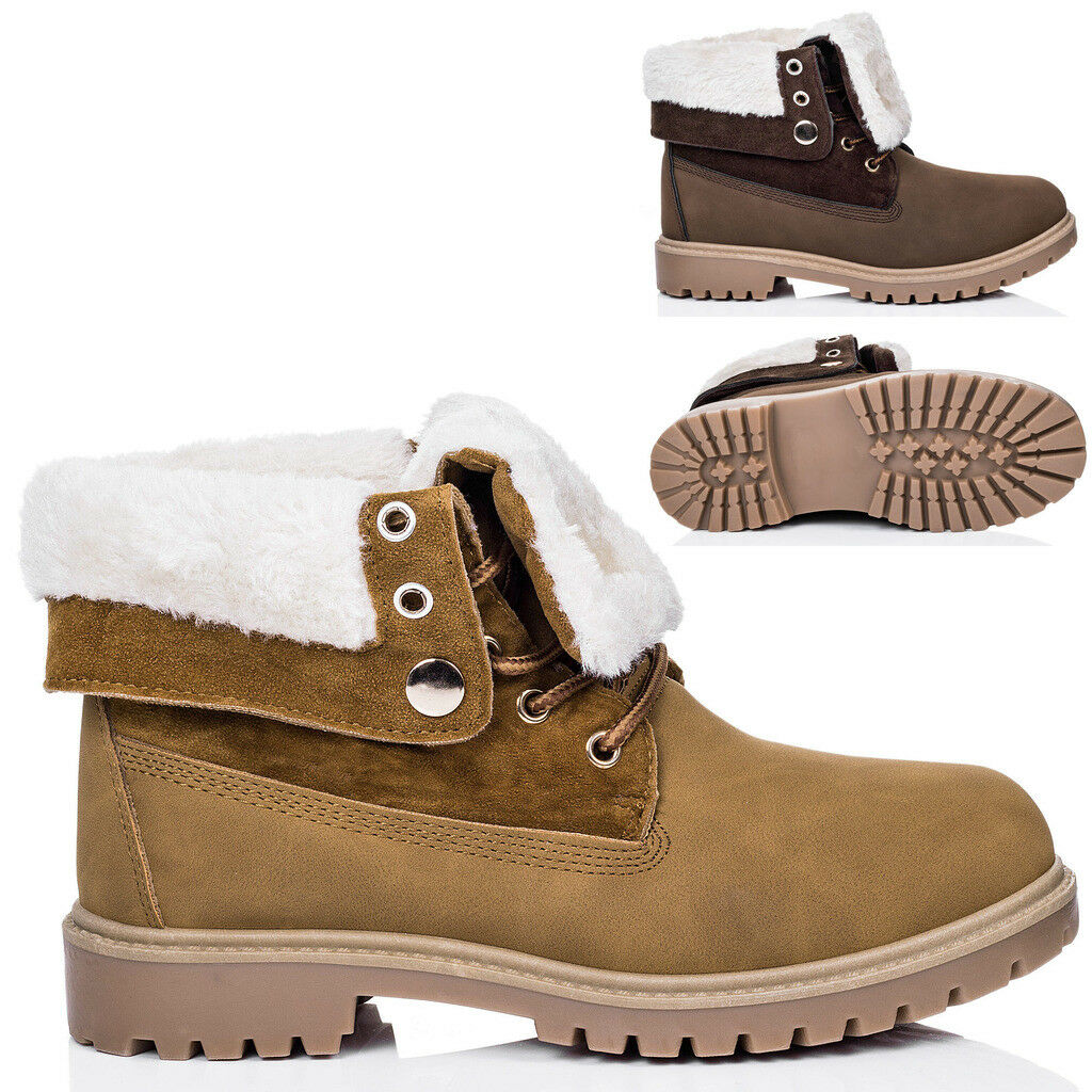 Womens Lace Up Cleated Sole Shearling Flat Combat Worker Walking Ankle Boots Pum
