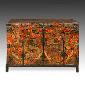Image Is Loading RARE ANTIQUE TRUNK PAINTED PINE IRON DRAGON TIBET