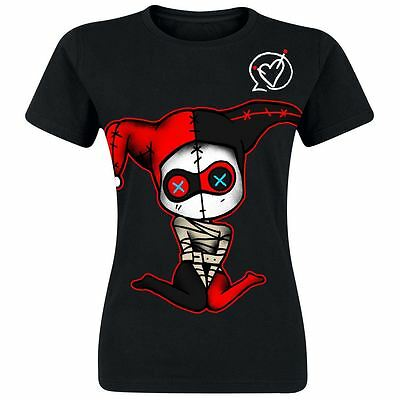 Cupcake Cult Insane T-Shirt Ladies Black Harley Quinn Discharge Print Cosplay