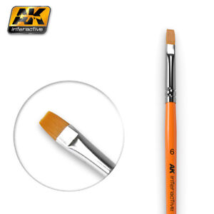 AK-Interactive-AK611-Flat-Paint-Brush-Size-6-For-Blending-Fading-amp-Streaks
